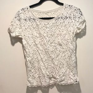 Lace Front White Shirt